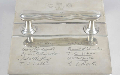 A George V silver mounted double hinged cigar box with carrying handle.