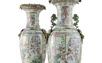 A LARGE NEAR PAIR OF ORMOLU MOUNTED CHINESE...