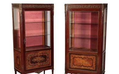 A PAIR OF EMPIRE MAHOGANY AND FLORAL MARQUETRY GLAZED CABINE...
