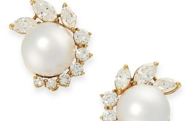A PAIR OF PEARL AND DIAMOND CLIP EARRINGS in 18ct