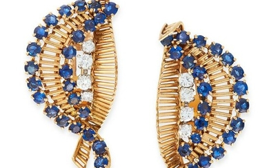 A PAIR OF SAPPHIRE AND DIAMOND CLIP EARRINGS in 18ct