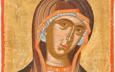 A SMALL ICON SHOWING THE MOTHER OF GOD FROM A DEISIS
