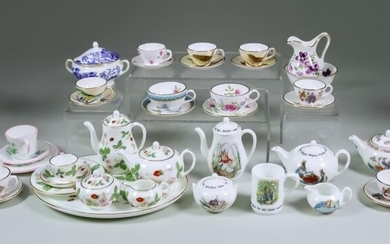A Small Collection of English Miniature Bone China Porcelain,...