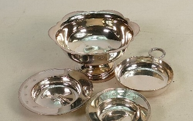 A collection of solid silver items: Comprising footed dish a...