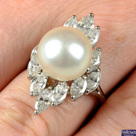 A cultured pearl and marquise-shape diamond cocktail ring.