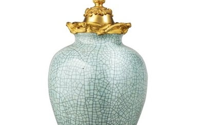 A gilt-bronze mounted Chinese celadon porcelain potiche, the vase 18th century, the mounts late 19th century