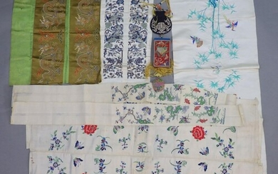 A group of Chinese embroidered silk items, late 19th/early 2...