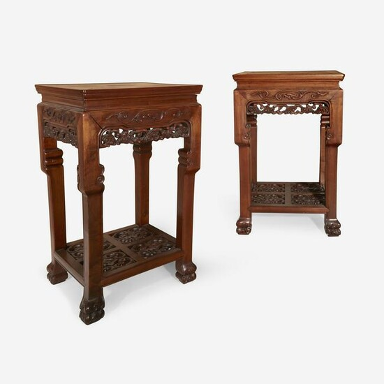 A pair of Chinese hardwood square side tables