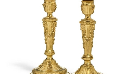NOT SOLD. A pair of large French Louis XVI style gilt bronze candlesticks. Mid-19th century. H. 32 cm. (2) – Bruun Rasmussen Auctioneers of Fine Art