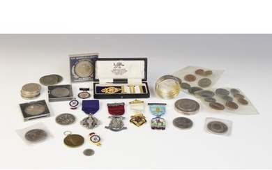 A selection of coins and medallions, to include a silver box...