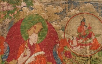 An exceptionally rare set of six Tibetan thangkas celebrating the religious origin of the First Panchen Lama. 18th/19th century