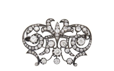Antique Silver, Gold and Diamond Brooch