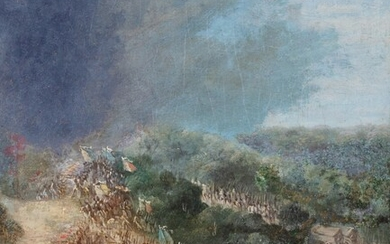 Attributed to Jean Baptiste Le Paon, La Fayette at The Brimstone Hill battle in Yorktown   Attribué à Jean Baptiste Le Paon, L'attaque de Brimstone Hill par La Fayette à Yorktown