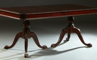 Carved Mahogany Chippendale Style Double Pedestal