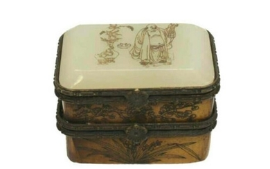 Chinese Jade Wood & Bronze Double Compartment Box