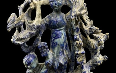 Chinese Sodalite Carved Guan Yin On Stand