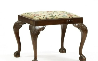 Chippendale Style Carved Mahogany Stool