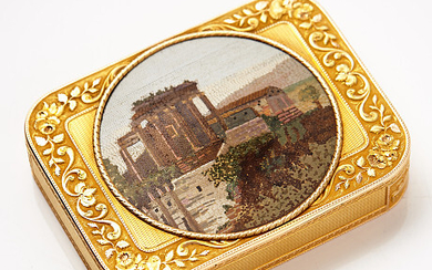 DOSA, 18 k two-tone gold so-called deux couleurs, unidentified stamps, probably Switzerland / Germany, around 1800.
