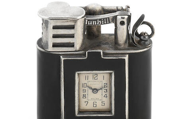 DUNHILL: a silver and enamelled 'unique pattern sports watch' lighter