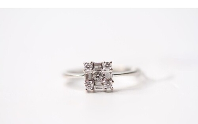 Diamond Square Cluster Ring, set with baguette and round bri...