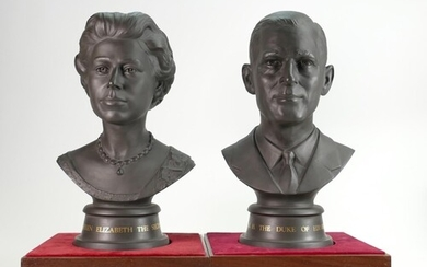 Doulton pair of limited edition black Basalt busts of HM Que...