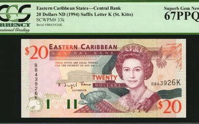 EAST CARIBBEAN STATES. Eastern Caribbean Central Bank. 20 Dollars, ND (1994). P-33k. PCGS Currency Superb Gem New 67 PPQ.