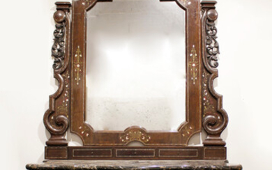 Elizabethan console with mirror in rosewood with Boulle marquetry in brass, mother-of-pearl and tortoiseshell, circa 1850.