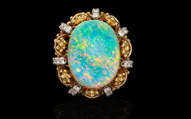 Fine Crystal Opal and Diamond Ring