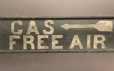 """""""Gas Free Air"""" Sign with Arrow, c 1920"""