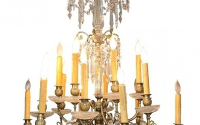 Gilt-Bronze & Cut Crystal 18-light Chandelier