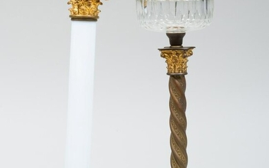 Gilt-Metal-Mounted Opaline Glass Columnar Lamp and a