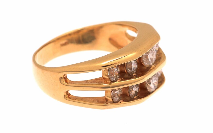 (-), Gold double row ring, 14 krt., set...