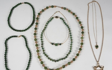 Group of Gold-toned Chinese Hardstone and Other Necklaces FR3SHRO