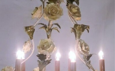 Italian Tole Rose Floral Chandelier 1940s 22in High