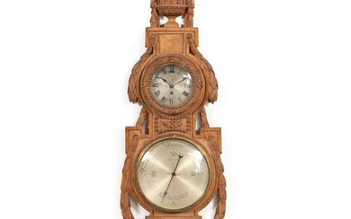 L. 19TH C NEOCLASSICAL STYLE CARVED BAROMETER CASE