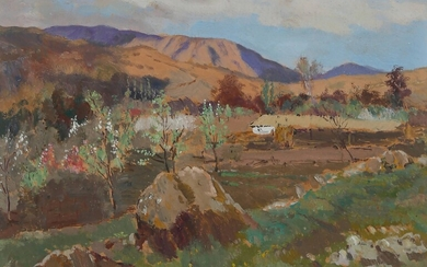 Landscape Oil on cardboard signed lower right 22.5 x 32...