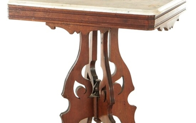 Late Victorian Marble Top Walnut Lamp Table, Late 19th to Early 20th Century