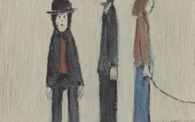 Laurence Stephen Lowry RBA RA, British 1887-1976- Three Men and a Cat, 1971; offset lithograph in colours on wove, signed in blue biro, from the unnumbered edition of 850, with the Fine Art Trade Guild blindstamp, printed by Max Jaffe, Vienna...