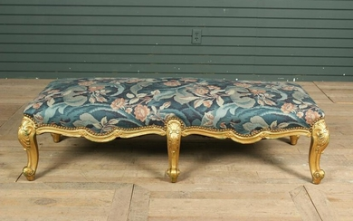 Louis XV Style Gilded Carved Wood Bench