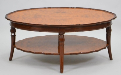 NEOCLASSICAL STYLE BURL WALNUT AND MAHOGANY COFFEE TABLE