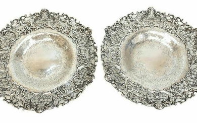 Pair Graff Washbourne & Dunn Sterling Silver Compotes