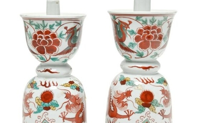 Pair of Chinese Wucai Porcelain Bell Form Candlesticks