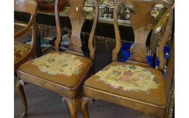 Pair of Queen Anne Style Walnut Dining Chairs with Embroider...