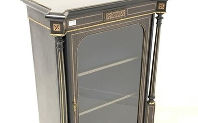 Victorian ebonised pier cabinet, the rectangular top with square...