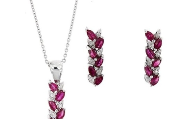 18 kt. White gold - Earrings, Necklace with pendant, Set - 1.80 ct Rubies - Diamonds