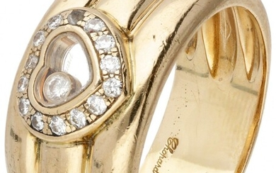 18K. Yellow gold Chopard 'Happy Diamonds' heart-shaped band ring set with approx. 0.18 ct. diamond....