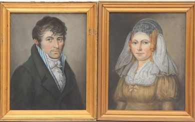 2 portraits of a man and a woman