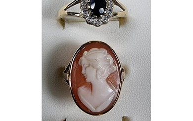 A 9ct gold cameo ring and two other 9ct gold rings, 7.5 gm