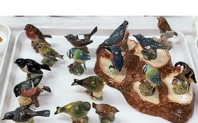 A Beswick bird stand and a large collection of Beswick birds...