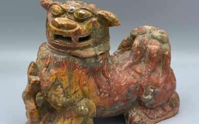 A Chinese Soapstone Pot Pourri in the form of a Dog of Fo, 1...